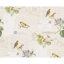 AS Création Mustertapete Dekora Natur, Papiertapete, cremeweiß, signalweiß, bunt 959482 10,05 m x 0,53 m