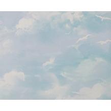 AS Création Mustertapete Dekora Natur, Strukturprofiltapete signalweiß himmelblau 560414 10,05 m x 0,53 m