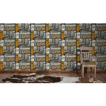 AS Création Mustertapete Faro 4, Tapete, gelb, metallic, schwarz 10,05 m x 0,53 m