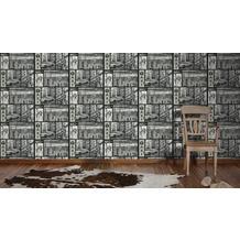AS Création Mustertapete Faro 4, Tapete, metallic, schwarz, weiss 10,05 m x 0,53 m