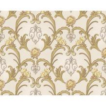 AS Création Mustertapete Hermitage, Satintapete klassisch, floral, beige, gelb, metallic 943383 10,05 m x 0,53 m