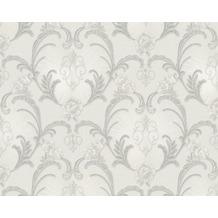 AS Création Mustertapete Hermitage, Satintapete, klassisch, floral, grau, metallic 943385 10,05 m x 0,53 m