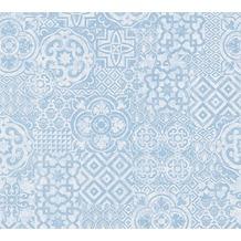 AS Création Mustertapete im Ethno-Look Happy Spring Vliestapete blau weiß 341454 10,05 m x 0,53 m