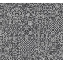 AS Création Mustertapete im Ethno-Look Happy Spring Vliestapete grau schwarz 341457 10,05 m x 0,53 m