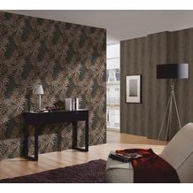 AS Création Mustertapete im Palmenprint Kingston Strukturprofiltapete braun metallic schwarz 10,05 m x 0,53 m