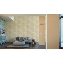 AS Création Mustertapete im Palmenprint Vacation Vliestapete beige grün metallic 10,05 m x 1,06 m