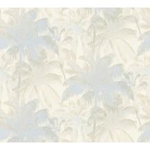 AS Création Mustertapete im Palmenprint Vacation Vliestapete blau creme metallic 343782 10,05 m x 1,06 m