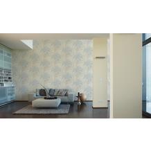AS Création Mustertapete im Palmenprint Vacation Vliestapete blau creme metallic 10,05 m x 1,06 m