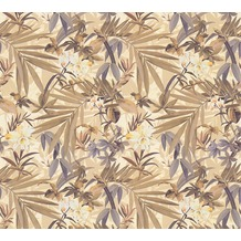 AS Création Mustertapete im Palmenprint Vacation Vliestapete braun creme metallic 343795 10,05 m x 1,06 m