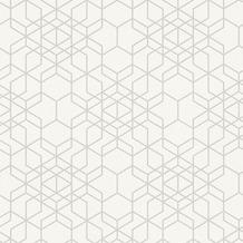 AS Création Mustertapete im skandinavischen Stil Björn Vliestapete beige metallic weiß 348691 10,05 m x 0,53 m