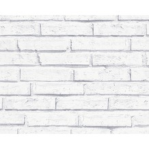 AS Création Mustertapete in Backsteinoptik Authentic Walls Papiertapete grau weiß 301692 10,05 m x 0,53 m