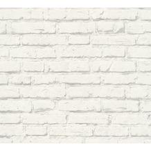 AS Création Mustertapete in Backsteinoptik Free Nature Vliestapete grau weiß 343992 10,05 m x 0,53 m
