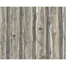 AS Création Mustertapete in Holzoptik Dekora Natur, Papiertapete, perlweiß, sepiabraun 958372 10,05 m x 0,53 m
