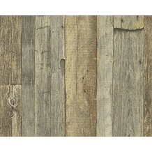 AS Création Mustertapete in Holzoptik Dekora Natur, Tapete, ockergelb, rehbraun 959313 10,05 m x 0,53 m