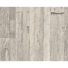 AS Création Mustertapete in Holzoptik Dekora Natur, Tapete, perlweiß, schwarzoliv 959311 10,05 m x 0,53 m