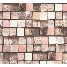 AS Création Mustertapete in Holzoptik Free Nature Vliestapete braun creme rosa 344522 10,05 m x 0,53 m