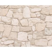 AS Création Mustertapete in Natursteinoptik Dekora Natur, Papiertapete, signalweiß beige 692429 10,05 m x 0,53 m