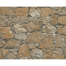 AS Création Mustertapete in Natursteinoptik Dekora Natur, Tapete, anthrazitgrau 958631 10,05 m x 0,53 m