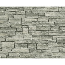 AS Création Mustertapete in Natursteinoptik Dekora Natur, Tapete, schwarzbraun, perlweiß 10,05 m x 0,53 m