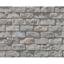 AS Création Mustertapete in Steinoptik Dekora Natur, Papiertapete, anthrazitgrau 958341 10,05 m x 0,53 m