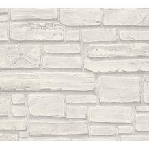 AS Création Mustertapete in Steinoptik Essentials Vliestapete Tapete grau weiß 662316 10,05 m x 0,53 m