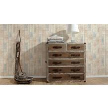 AS Création Mustertapete in Vintage Holz Optik Kitchen Dreams Tapete beige blau braun 10,05 m x 0,53 m