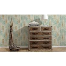 AS Création Mustertapete in Vintage Holz Optik Kitchen Dreams Tapete beige braun grün 10,05 m x 0,53 m