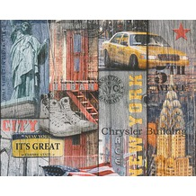 AS Création Mustertapete in Vintage Optik New York Authentic Walls Papiertapete bunt 301701 10,05 m x 0,53 m