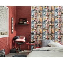 AS Création Mustertapete in Vintage Optik New York Authentic Walls Papiertapete bunt 10,05 m x 0,53 m