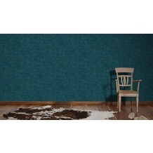 AS Création Mustertapete in Vintage Optik Saffiano blau metallic 10,05 m x 0,53 m