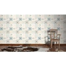 AS Création Mustertapete Kitchen Dreams Tapete blau creme grau 10,05 m x 0,53 m