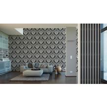 AS Création Mustertapete mit Glitter Bling Bling, Vliestapete, grau, schwarz 10,05 m x 0,53 m