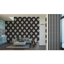 AS Création Mustertapete mit Glitter Bling Bling, Vliestapete, schwarz, weiß 10,05 m x 0,53 m