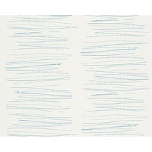 AS Création Mustertapete mit Glitter Life 3, Vliestapete, blau, weiß 301271 10,05 m x 0,53 m