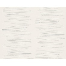 AS Création Mustertapete mit Glitter Life 3, Vliestapete, metallic, weiß 301272 10,05 m x 0,53 m
