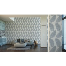 AS Création Mustertapete San Francisco, Strukturprofiltapete, creme, metallic, weiß 10,05 m x 0,53 m