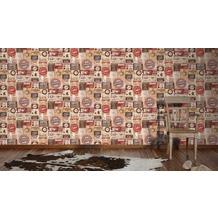 AS Création Mustertapete Simply Decor Papiertapete beige braun rot 10,05 m x 0,53 m