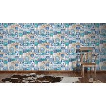 AS Création Mustertapete Simply Decor Papiertapete blau braun grau 10,05 m x 0,53 m
