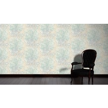 AS Création Mustertapete Vacation Vliestapete beige blau metallic 10,05 m x 1,06 m