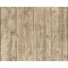 AS Création Mustertapete Wood`n Stone, Tapete, Holzoptik, beige, braun, gelb 708816 10,05 m x 0,53 m