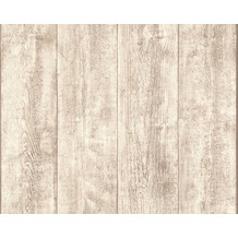 AS Création Mustertapete Wood`n Stone, Tapete, Holzoptik, beige, creme, weiss 10,05 m x 0,53 m