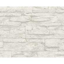 AS Création Mustertapete Wood`n Stone, Tapete, Natursteinoptik, grau, weiss 707161 10,05 m x 0,53 m