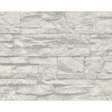 AS Création Mustertapete Wood`n Stone, Tapete, Natursteinoptik, grau, weiss 707116 10,05 m x 0,53 m