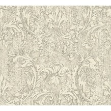 AS Création neobarocke Mustertapete in Vintage Optik Havanna Tapete grau metallic weiß 325271 10,05 m x 0,53 m