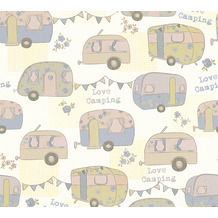 AS Création Papiertapete Boys & Girls 6 Tapete Love Camping blau creme metallic 343452 10,05 m x 0,53 m