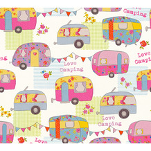 AS Création Papiertapete Boys & Girls 6 Tapete Love Camping bunt creme metallic 343453 10,05 m x 0,53 m