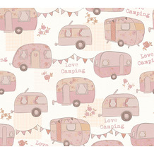 AS Création Papiertapete Boys & Girls 6 Tapete Love Camping creme metallic rosa 343451 10,05 m x 0,53 m