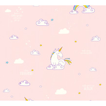 AS Création Papiertapete Boys & Girls 6 Tapete mit Einhörnern Unicorn blau gelb rosa 361582 10,05 m x 0,53 m