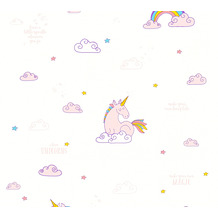 AS Création Papiertapete Boys & Girls 6 Tapete mit Einhörnern Unicorn bunt lila weiß 361581 10,05 m x 0,53 m