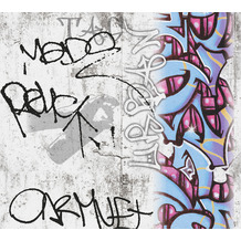 AS Création Papiertapete Boys & Girls 6 Tapete mit Graffiti blau grau rot 369861 10,05 m x 0,53 m